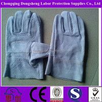 Flexible Unlined Short Thin Cow Split Leather Welding Working Gloves