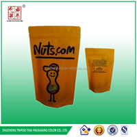 Sand up Pouch Top zipper plastic packaging for nuts