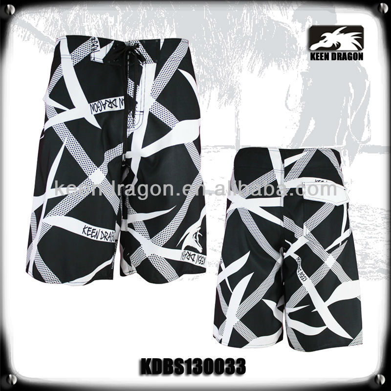 Newest Style Swimwear Black and White Men s Printing Beach Shorts