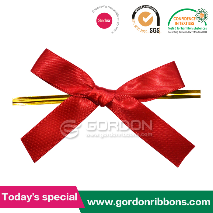 shocking red polyester packing ribbon bow