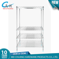 4-tiers adjustable chrome iron spice wire rack for kitchen