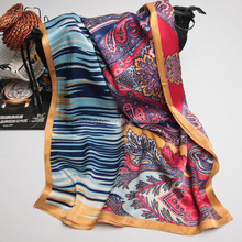 printed double sided 100% silk shawl