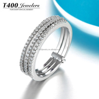 T400 jewelry three pcs set Ring of 925 Sterling Silver with AAA Zirconia plata joyas anillos 4389