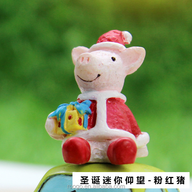 ROOGO Hotsale funny christmas ornaments resin live lucky pig for sale