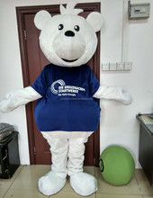 Professional handmade white bear costume de mascotte easy wearing adult bear costume de mascotte