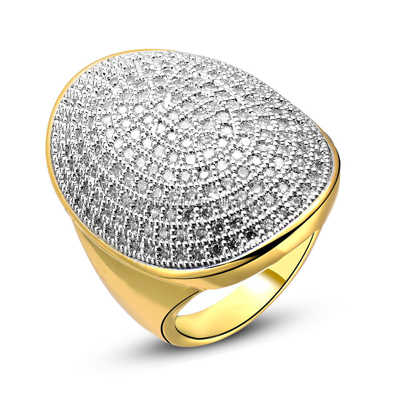 2016 Hot Sale Micro Pave CZ 925 Silver Gold Plated Ring Jewelry