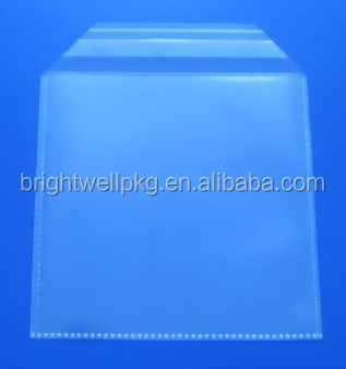100micron Plastic CD Sleeve with Adhesive Flap ( with binding edges)