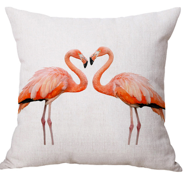 Nordic style Simple Design Linen Fabric Cushion Pillow Printing Flamingo Cushion Cover