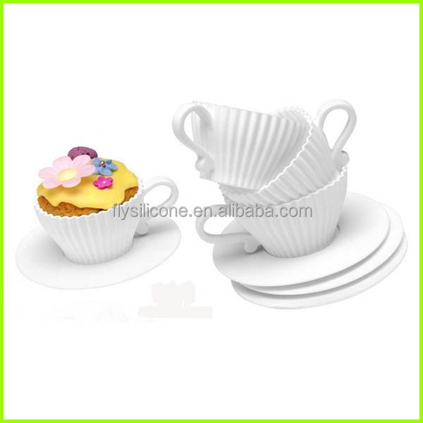 Tea Cupcakes,Bake & Serve Cupcake Teacup Silicone Molds,Set of 4