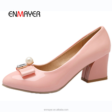 Wholesale ladies office korean high heel safety shoes with crystal and pearl