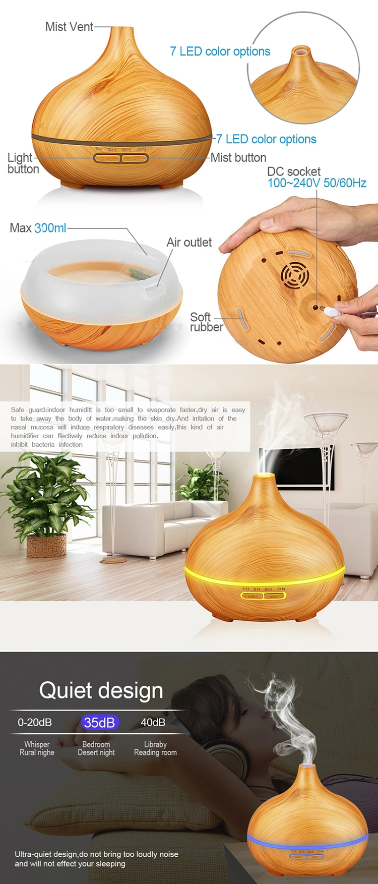 Wood air purifier aromatherapy spray humidifier anion freshener machine nebulizer aroma diffuser
