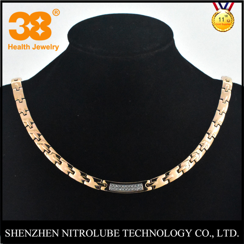 China Factory Stainless Steel Chain Bio Element Necklace with CNC Stones for Health