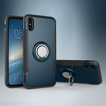 Shockproof Metal Combo Hybrid Armor Magnetic Car Ring Holder Kickstand Phonecase Phone Case For iPhone X 8 7 6 5 5S SE Plus