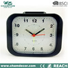 Square shape plastic table alarm clock with light , custom quartz desk clock