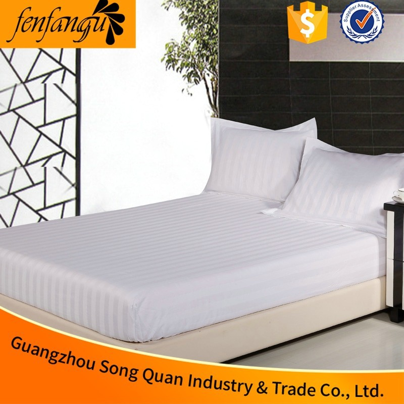 China Hotel Supplier Hotel Bedding Linen Bedsheet Cheap Super King Hotel Elastic Fitted Bed Sheet