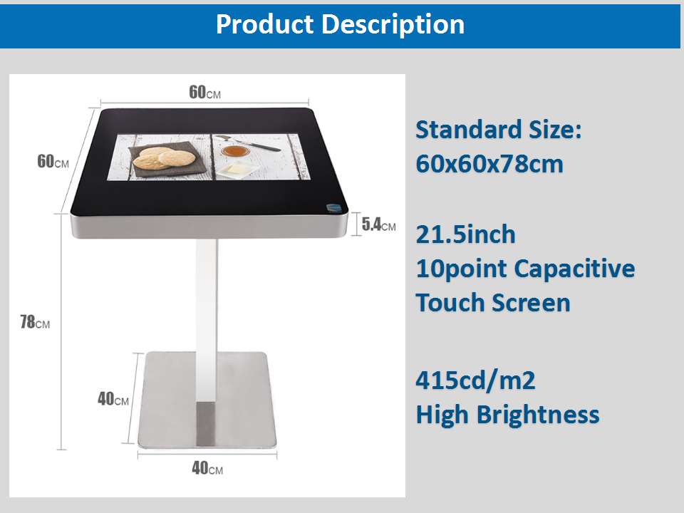 EKAA Restaurant Self-service Android Multi Touch Screen Coffee Table