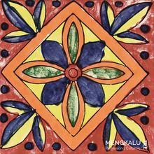 Mexican style tiles in mixed decorative designs