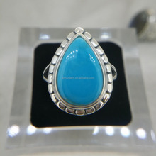 Handmade Jewelry Natural Stone Larimar & Turquoise with 925 Silver Ring of Pear Shape