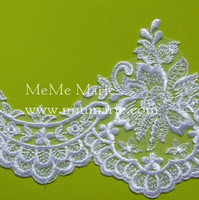 White Cord Lace Fabric with Flowers Knitted Lace for Bridal Wedding Dress & Curtain CT378
