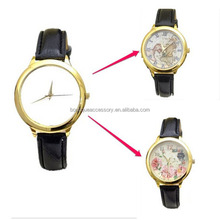 Women Quartz Leather Wrist Watch Sublimation Personalized Blank Print Face Customized Leather Watchband Watch