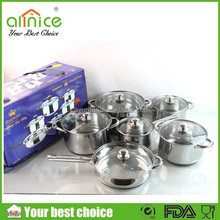 Stainless handle 12pcs cookware set/real kitchen cookware/used pots and pans sale