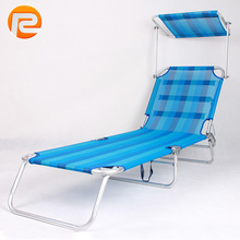 Popular Aluminium blue portable folding bench sun lounger with canopy