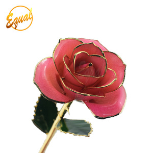 real rose dipped in 24k gold foil rose with gift boxes with lids