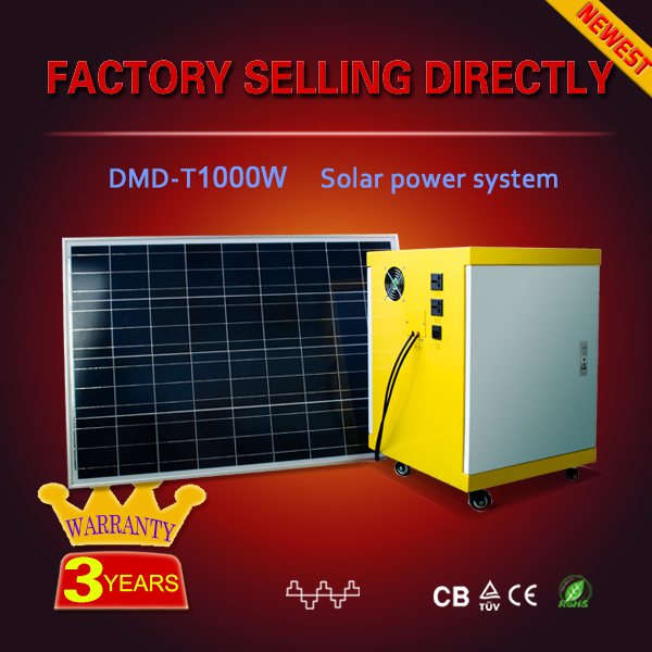 Factory price 1000w 2000w 3000w 5000w portable home solar systems complete with battery and solar controller