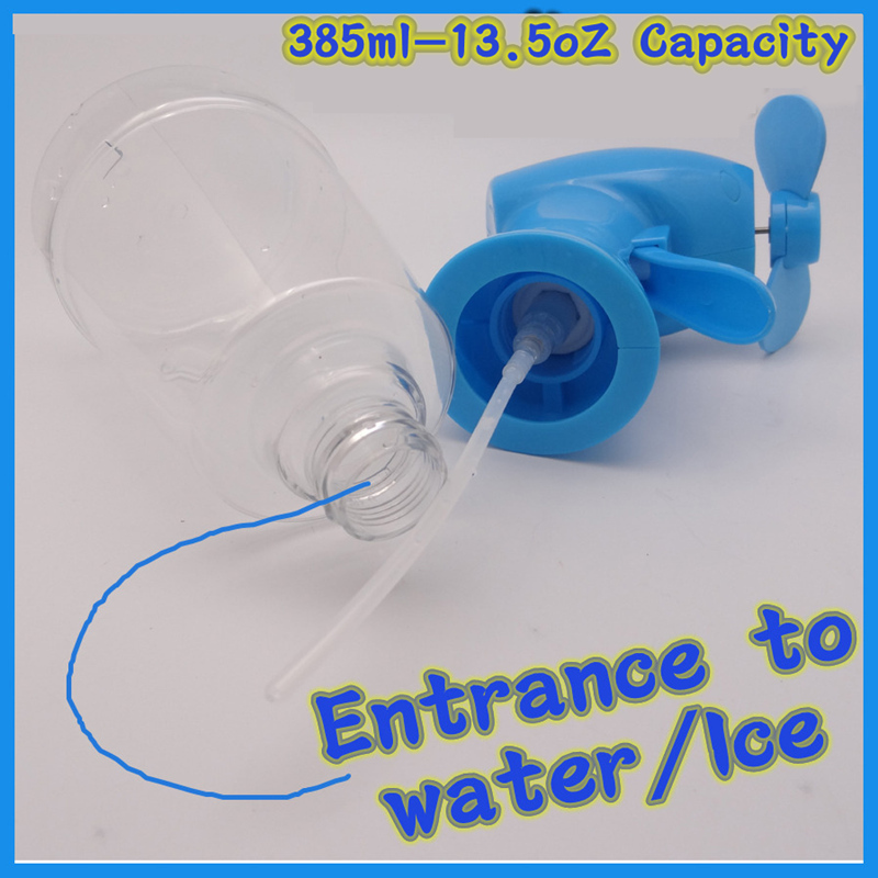 2*AA battery operated handheld misting fan type water bottle spray fan