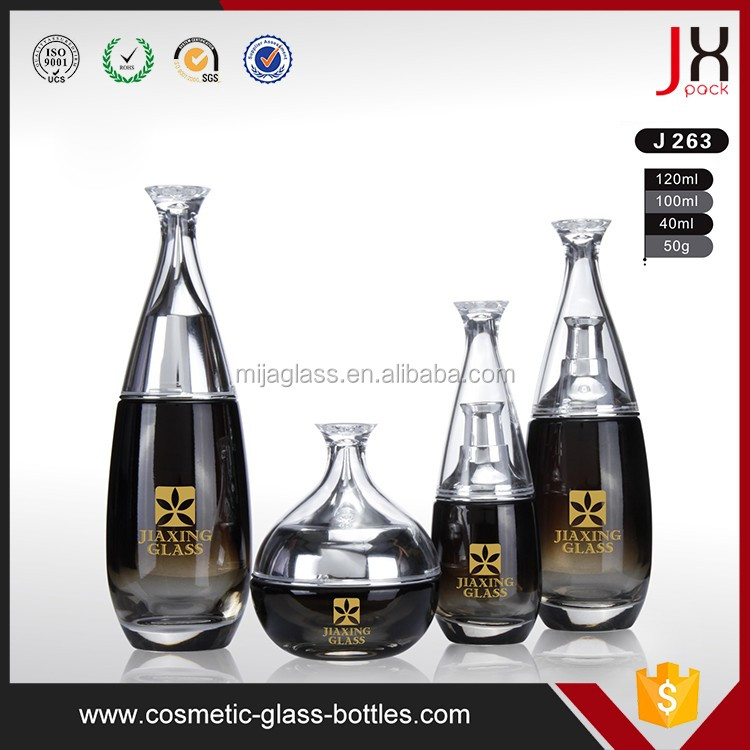 Guangzhou Luxury Glass Packaging Skincare 100ml 120ml Cosmetic Serum/Lotion/Cream Glass Dropper Bottle Packagings with Pump