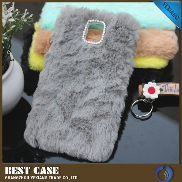Luxury bling diamond case for samsung galaxy note 4 rabbit fur cell phone case wholesale alibaba