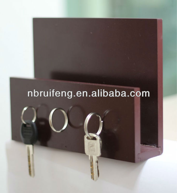 wooden compact magnetic key mail holder for multiple keys with wall hanging