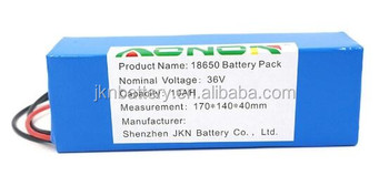 OEM Electric Batteries Pack 36v 10Ah 360Wh