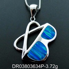 Newest Design Jewelry 925 Sterling Silver Blue Fire Opal Sunglasses Pendant