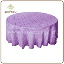 Cheap Elegant Polyester Round Taffeta Wedding Pintuck Table Cloth