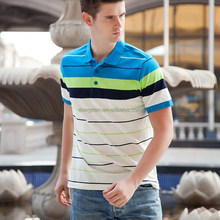 New fashion popular colorful men's stripe t-shirt in wholesale with cheap price stretch cotton polo t shirt
