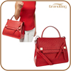 elegant design red ostrich pattern leather tote handbag exotic leather handbag ostich embossed leather handbag