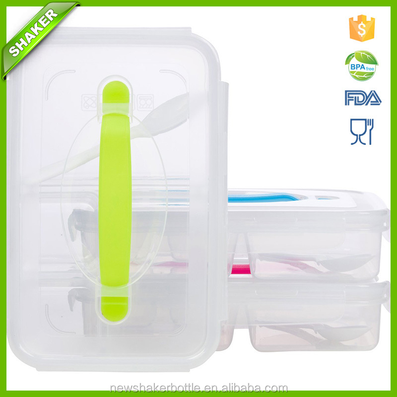 Bento Lunch Boxes With Leak-Proof Lid Reusable Plastic Food Storage Containers - Microwave 4 Divided Compartments