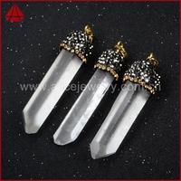 Diamond paved clear quartz gemstone pendant, raw crystal quartz single point pendants with silver plated