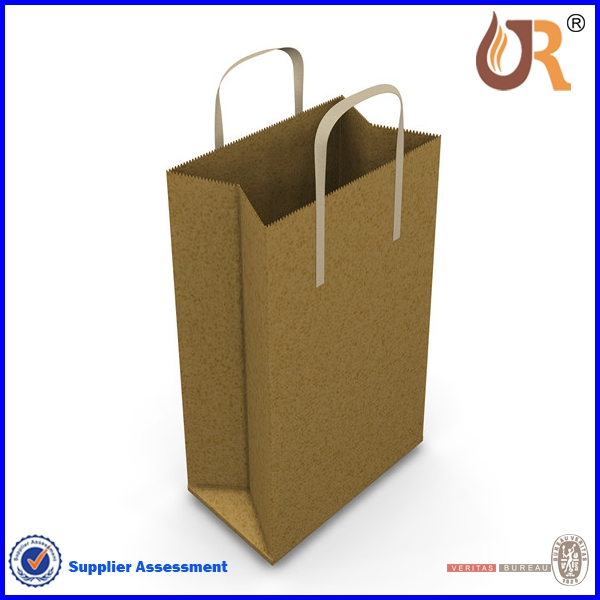 Recycling Material OEM Kraft Paper Bag With Twist Handle Paper Bag