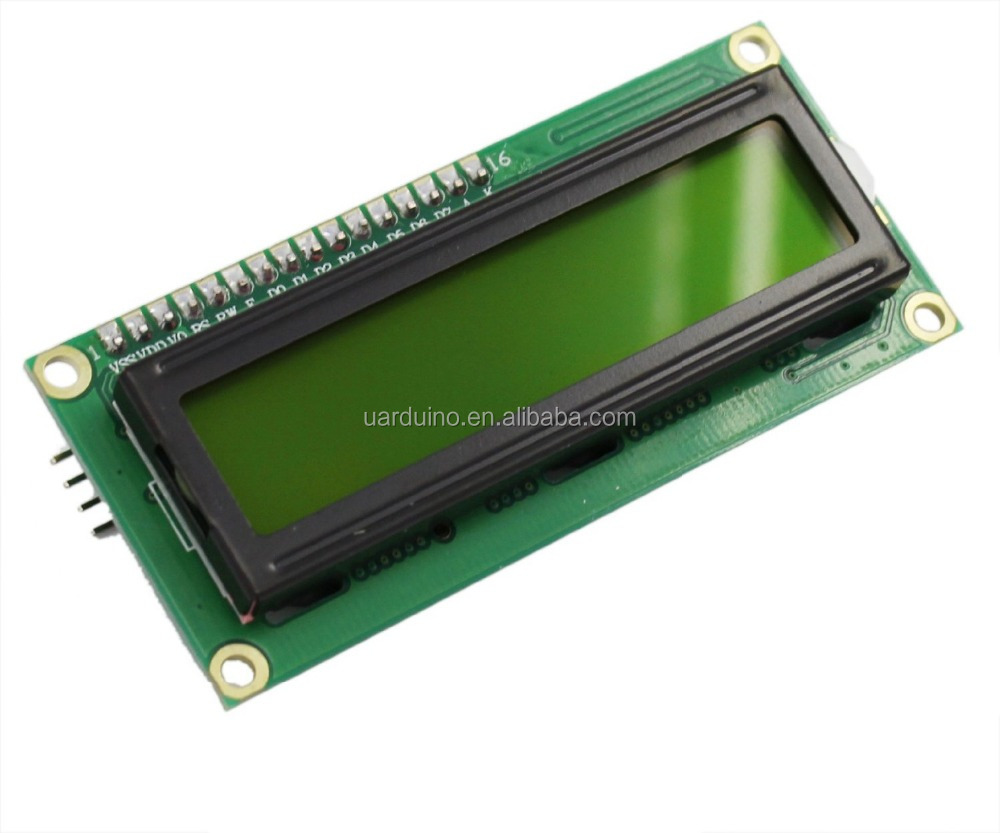 16x2 lcd display module ,stn yellow green cob style with led backlight,5V,pins connection for Arduino