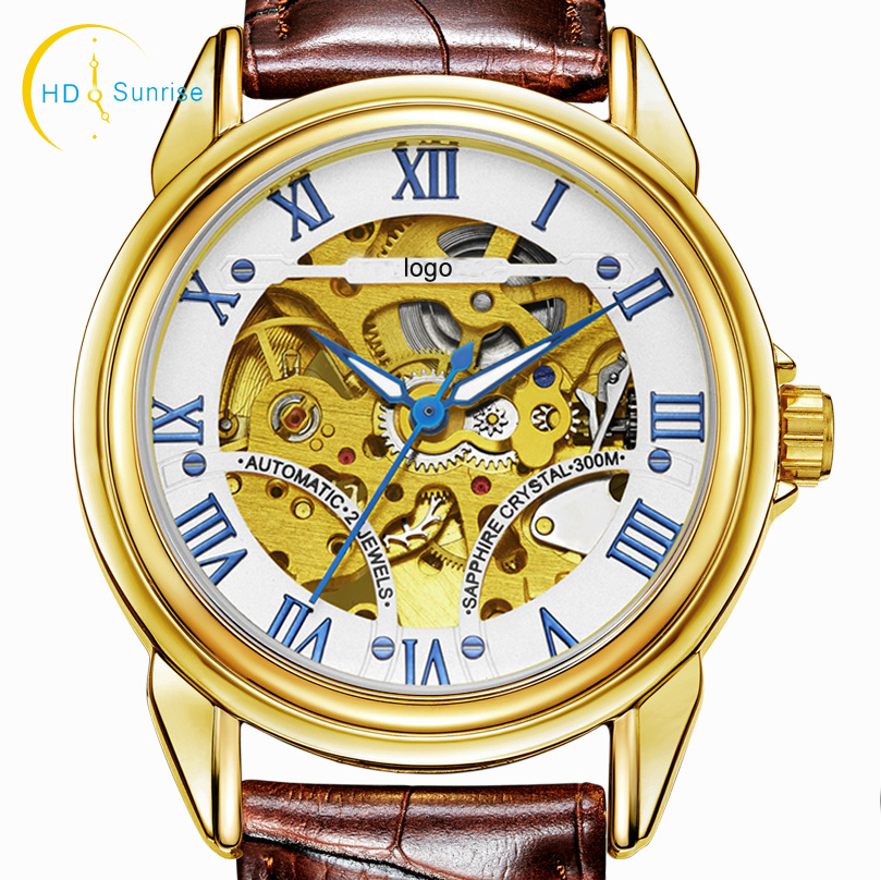 Luxury gold stainless steel waterproof roles mens skeleton automatic mechanical watch