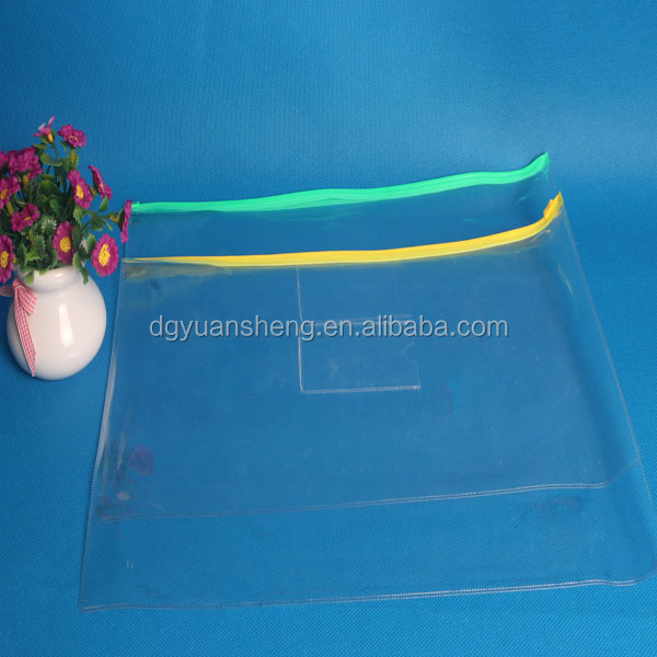 custom made zipper lock pvc clear holder file a4