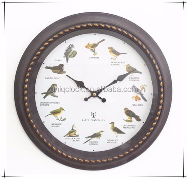 16 inches plastic retro bird chrip wall clock with redio controlled