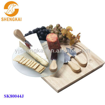 6pcs stainless steel wooden cutting board cheese knife set