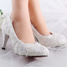 White pearl silk lace Wedding shoes Bridal flats low heel heels pumps size 5-12