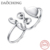 2017 latest fashion Hat Glasses Mustache open 925 Sterling silver double finger ring