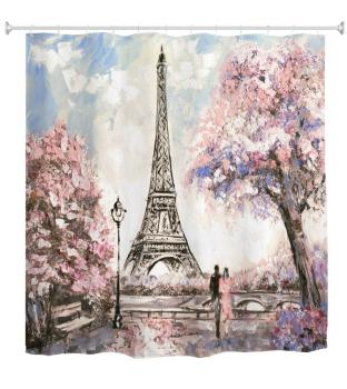 Waterproof Paris Eiffel Tower Bathroom Shower Curtain Romantic Lover Pink Flower Polyester Fabric Bathroom Curtain 1.8mx1.8m