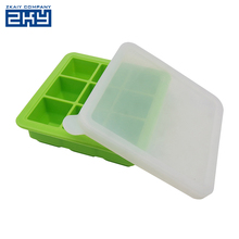 Wholesale Unbreakable Big Ice Cube Tray,FDA Approved DIY Large Square Silicone Ice Candy Cube Mold Tray with Lid