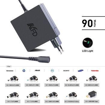 KFD sqaure 90W universal wall charger for laptop with 10 led tips